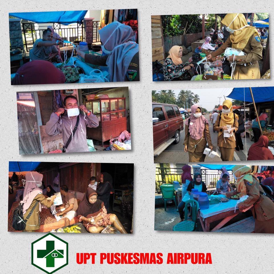 Puskesmas Airpura bag8kan Masker Gratis Kepada Masyrakat.