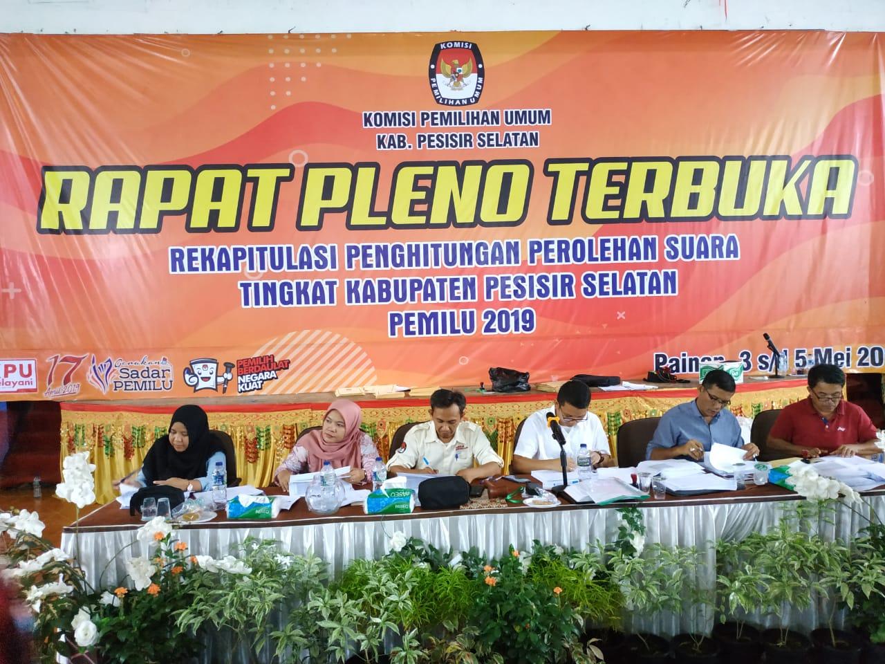 Hasil Rekapitulasi Perolehan Suara Pemilu Tahun 2019 Kabupaten Pesisir Selatan